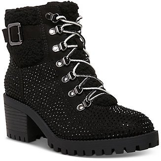 Madden Girl Hayess-R Faux-Fur Lug Sole Hiker Booties & Reviews - Boots - Shoes