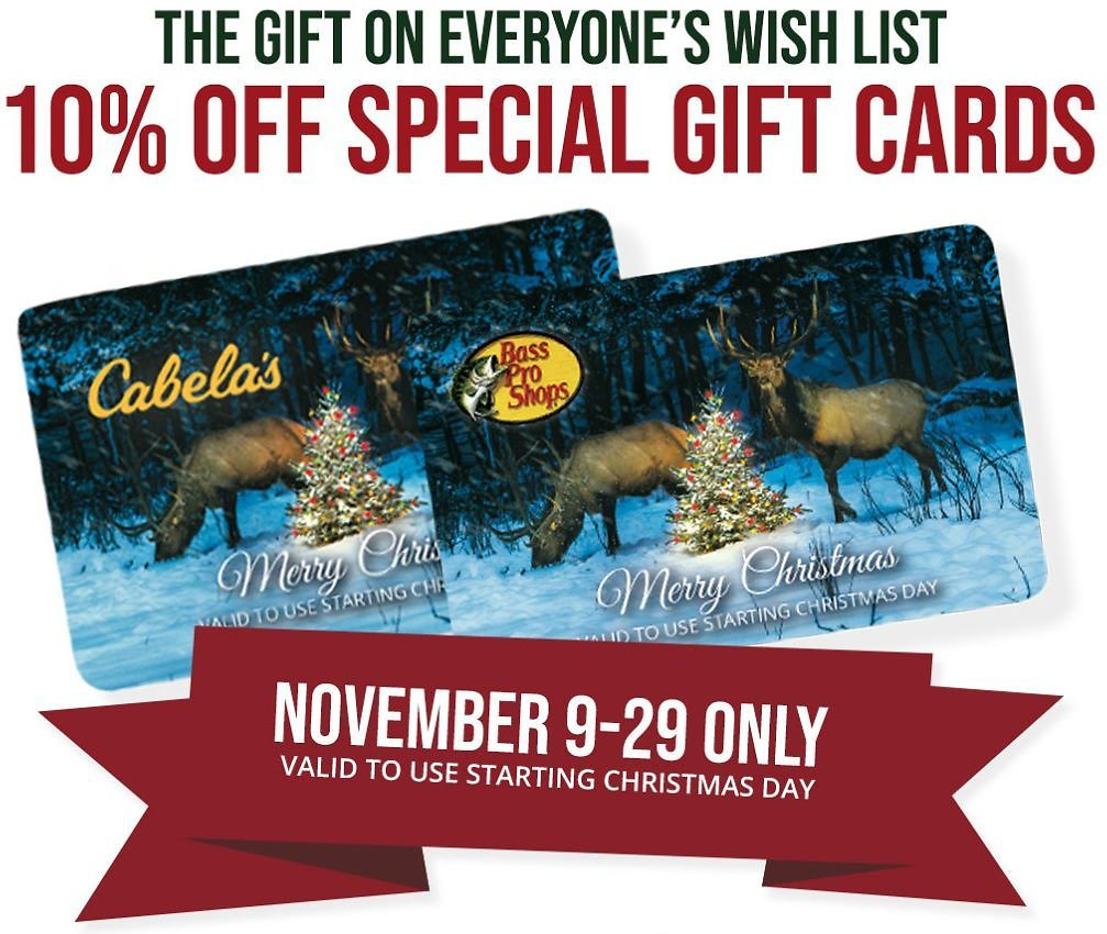 10% Off Cabela's Special Gift Cards