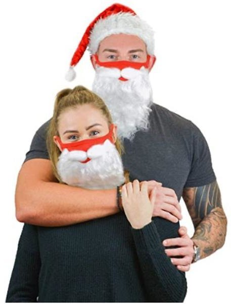 Holiday Santa Beard Face Mask Costume for Adults - One Size Fits All