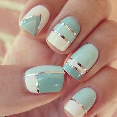 Nail Art Lace Stickers Decals Transfers SILVER Lace Strips Decoration Gel Polish