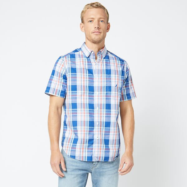 CLASSIC FIT SHORT SLEEVE MULTICOLOR PLAID SHIRT
