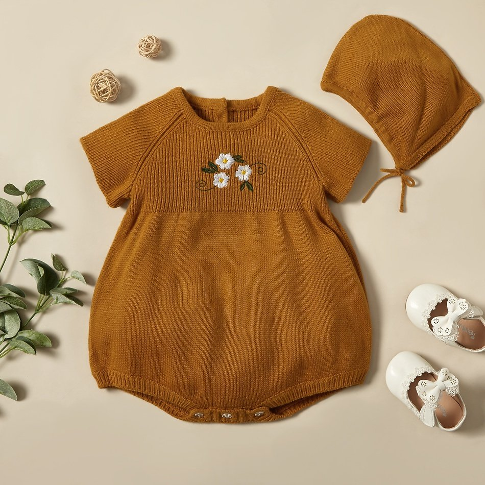 2-piece Baby Floral Embroidered Knitted Romper with Hat
