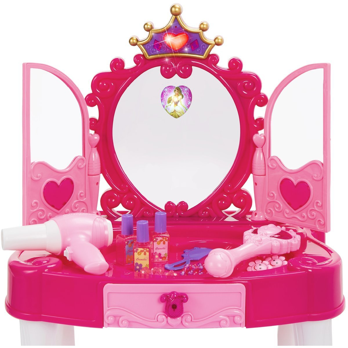 Kids Princess Vanity Mirror w/ AUX Cable, Wand, Hairdryer, Accessories