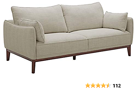 Amazon Brand – Best Stone & Beam Hillman Mid-Century Sofa Couch with Wood Base and Legs, 78