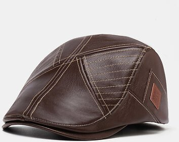 Men Vintage Artificial Leather Hat Keep Warm Ear Protected Casual Beret HatMen's AccessoriesfromApparel Accessorieson Banggood.com