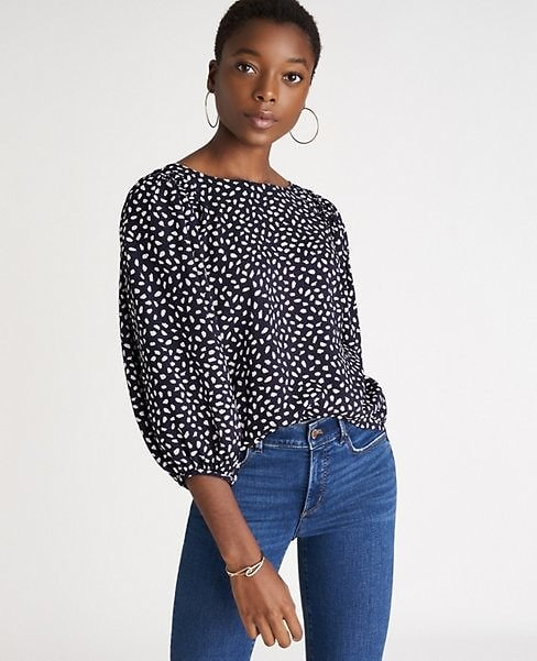 Spotted Shirred Sleeve Boatneck Top | Ann Taylor