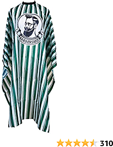 Ameene Professional Barber Cape, 57 X 65 Inch Polyester Hair Cutting Salon Cape, Water and Stain Resistant Apron, Perfect for Cutting Hair Beard Hairdressing (Green Stripes)