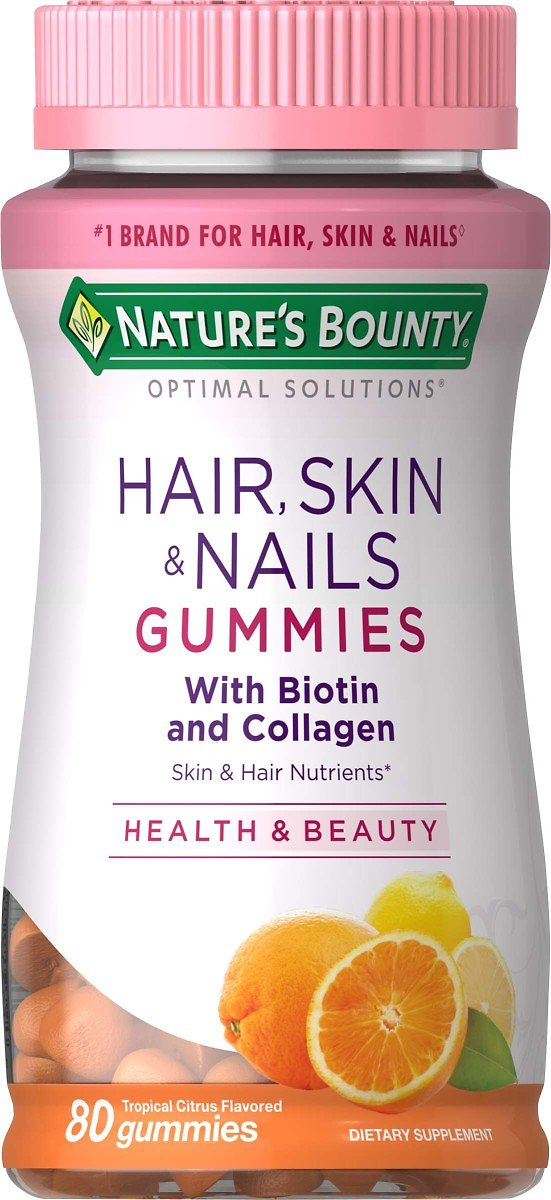 Nature's Bounty® Optimal Solutions Hair, Skin & Nails with Biotin and Collagen, 80 Gummies