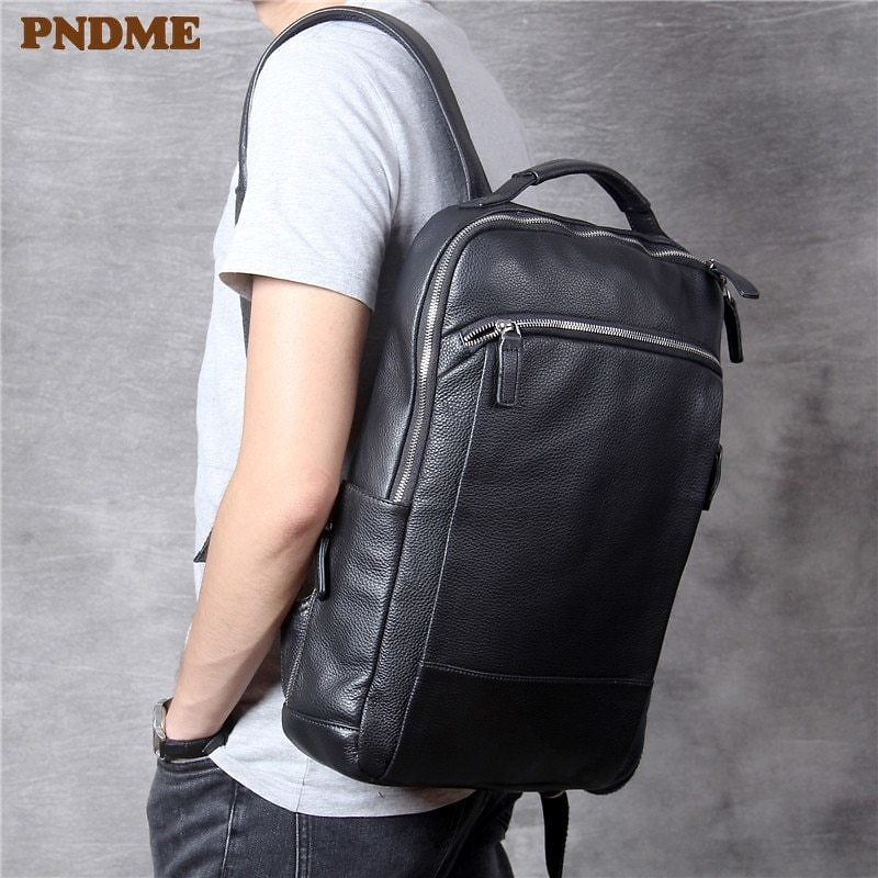 US $88.75 46% OFF PNDME Simple Casual Soft Cowhide Men Women's Backpack High Quality Genuine Leather Large Capacity Travel Black Laptop Bagpack Backpacks  - AliExpress