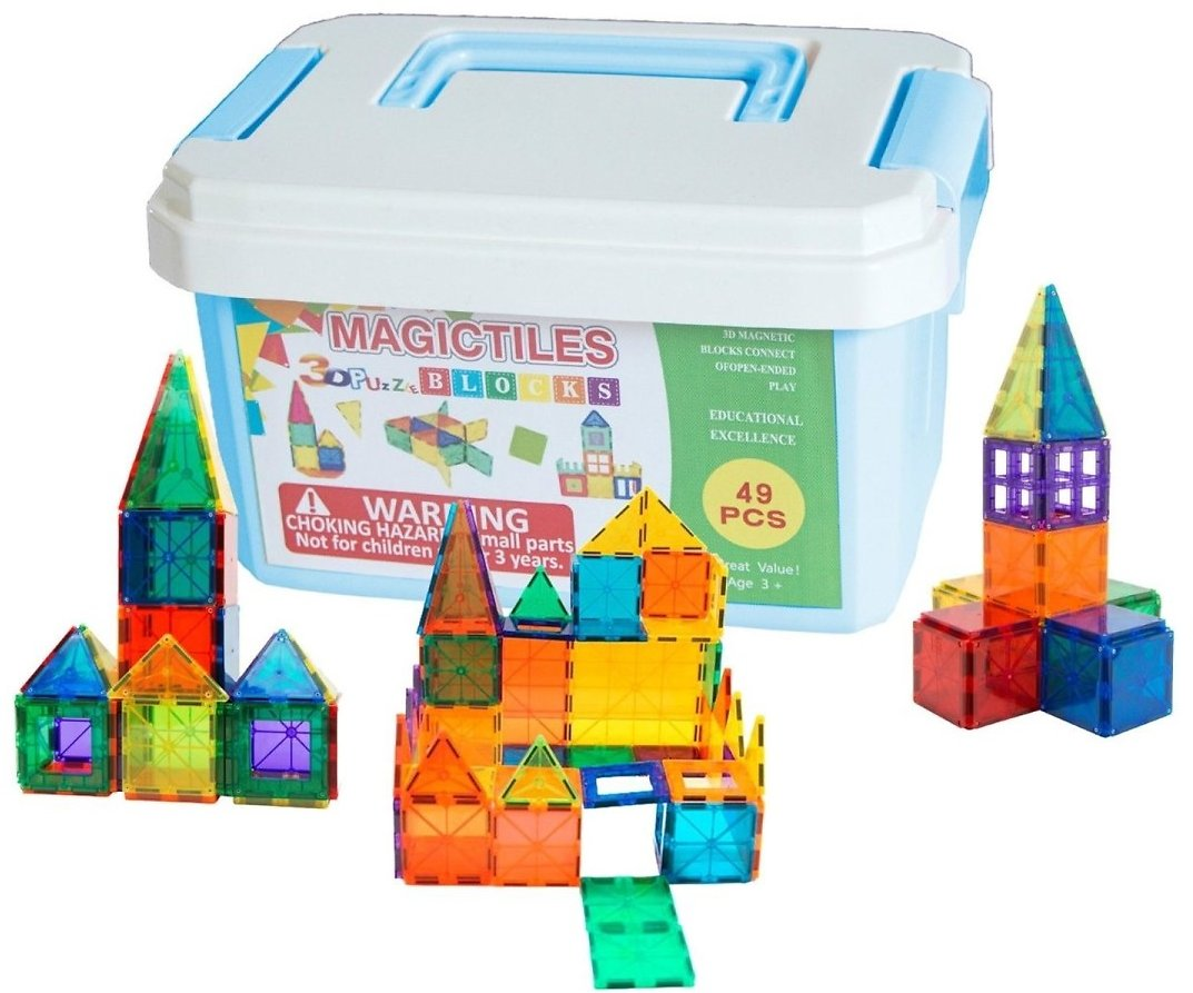 49-Piece Magnetic Toy Tiles