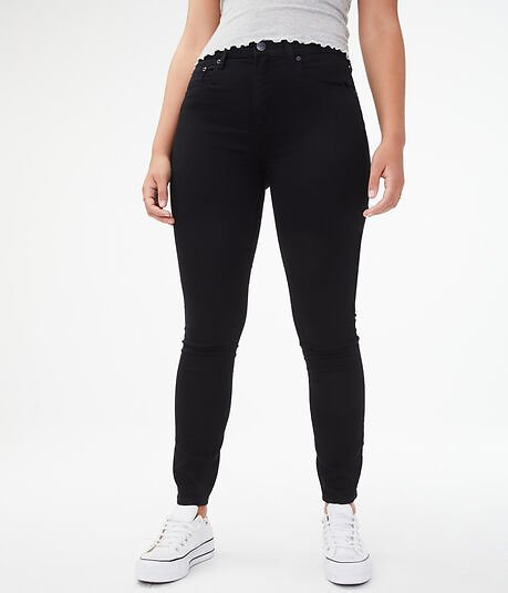 High-Waisted Color Wash Jegging - Black