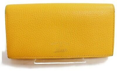 Authentic Gucci Long Wallet Yellows Leather 902939