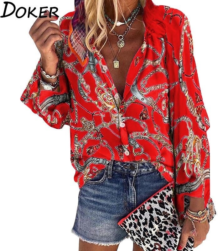 US $9.99 50% OFF|2020 New Design Plus Size Women Blouse V Neck Long Sleeve Chains Print Loose Casual Shirts Womens Tops And Blouses|Blouses & Shirts| - AliExpress