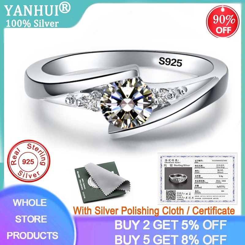 US $3.49 93% OFF YANHUI With Certificate 0.75ct Lab Diamond Rings For Women Party Elegant Bridal Jewelry 925 Silver Wedding Engagement Rings R036 Rings  - AliExpress