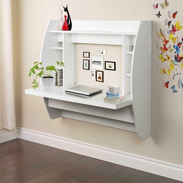 Derrione Floating Desk with Hutch