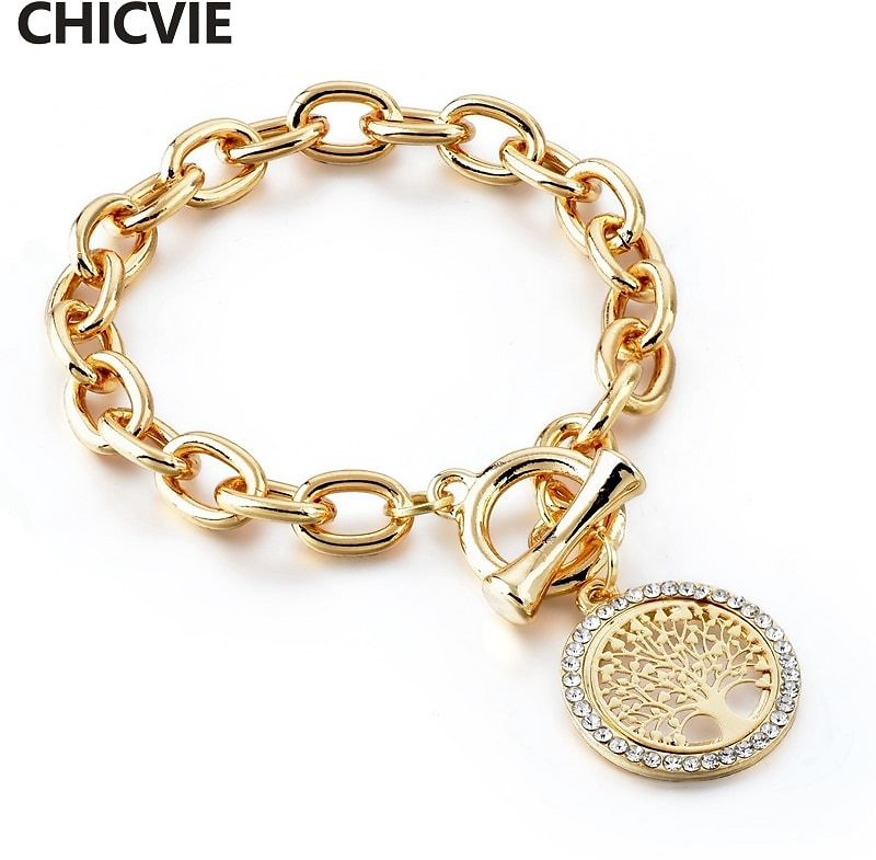 US $5.0 |CHICVIE New Fashion Gold Color Round Shape Charm Tree Of Life Bracelets&Bangles Designs For Women Bracelets SBR180157|Charm Bracelets| - AliExpress