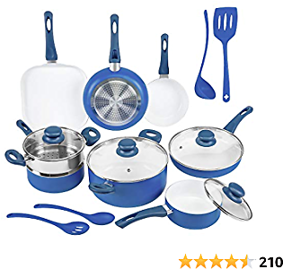Ivation 16pc Healthy Ceramic Nonstick Cookware Set W/Induction Compatible Base | Dishwasher Safe, PFOA & Toxin Free | Pots & Pans Set W/Stay-Cool Bakelite Handle & Tempered Glass Lid | Blue