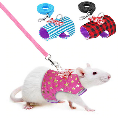Small Pet Rabbit Harness Vest and Leash Set For Ferret Guinea Pig Bunny Hamster Puppy Bowknot Chest Strap Harness Pet Supplies