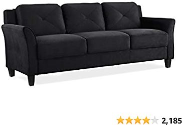 Lifestyle Best Solutions Collection Grayson Micro-fabric Sofa, Black