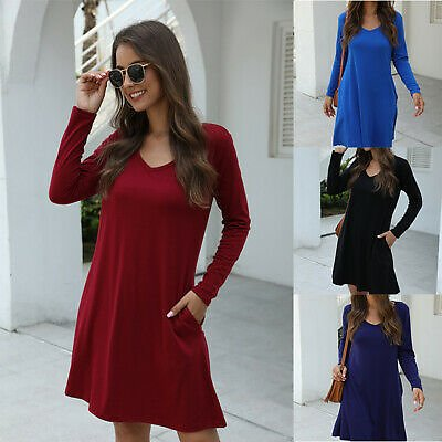 Women Long Sleeve T Shirt Dress A-line Dress Pockets V Neck Tunic Autumn Casual