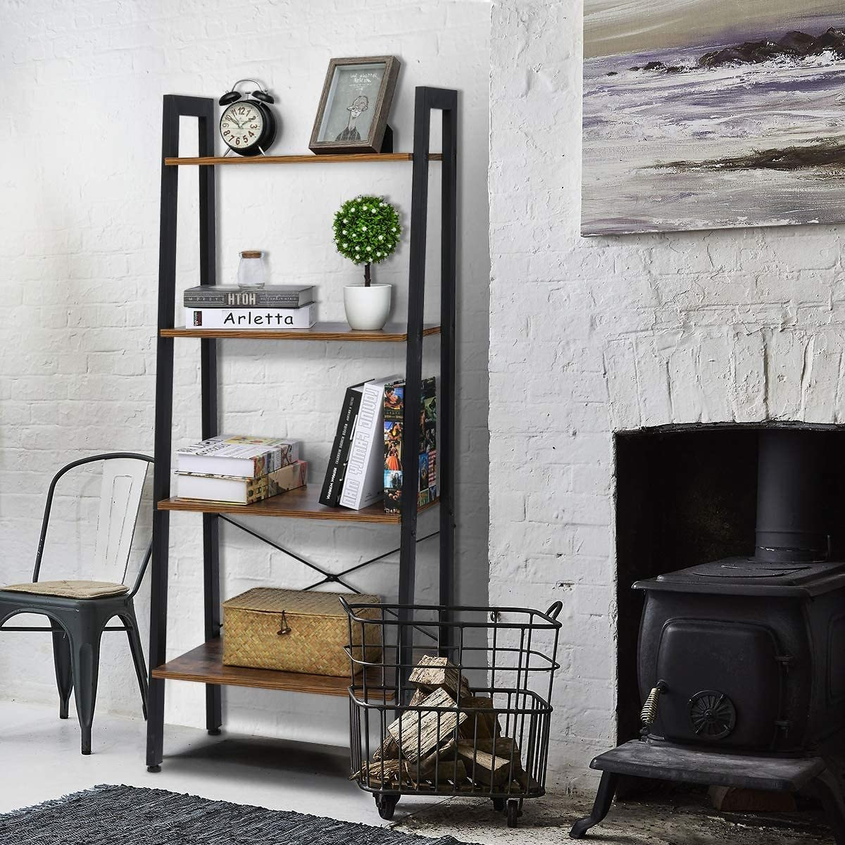 Ladder Shelf Industrial Bookshelf 4 Tier Storage Shelves Wood Black Bookshelf Display Book Shelves and Bookcases Shelving