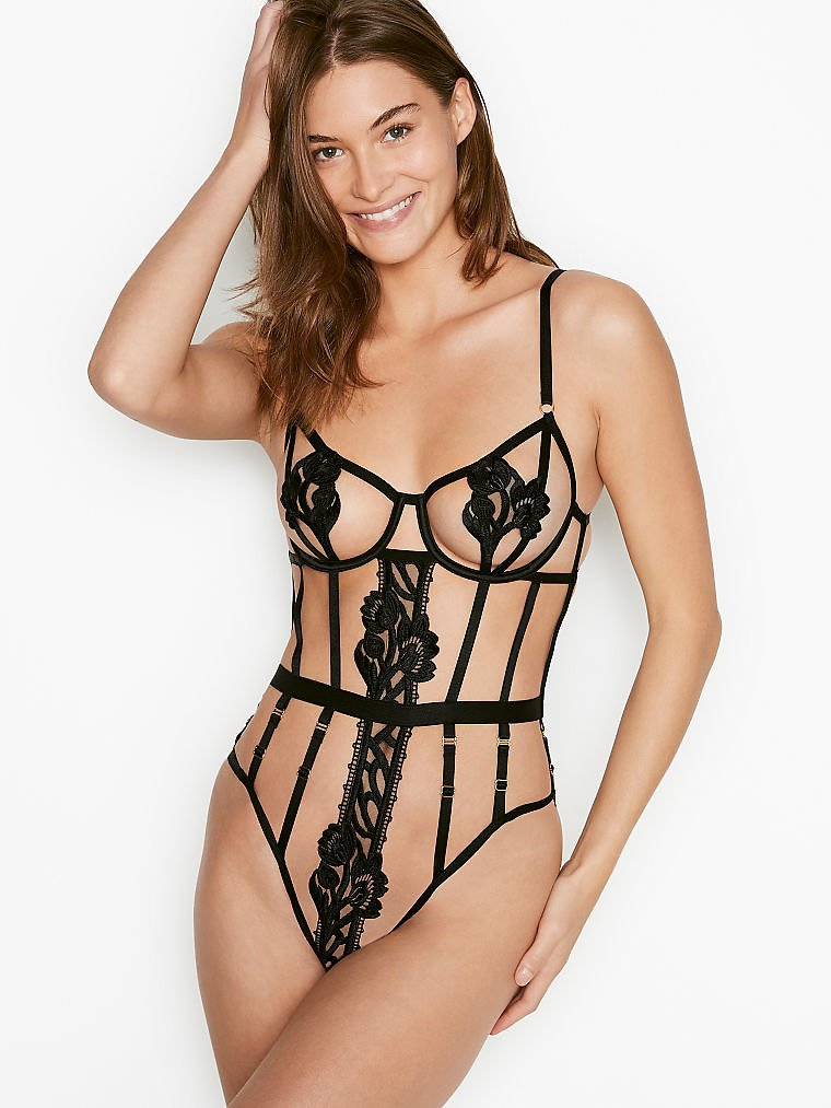 Strappy Floral Embroidered Teddy - Very Sexy - Vs