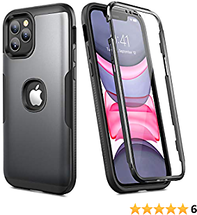 YOUMAKER Designed for IPhone 12 Pro Max Case, Full Body Rugged with Built-in Screen Protector Heavy Duty Protection Slim Fit Shockproof Cover for IPhone 12 Pro Max Case 6.7 Inch (2020) - Black