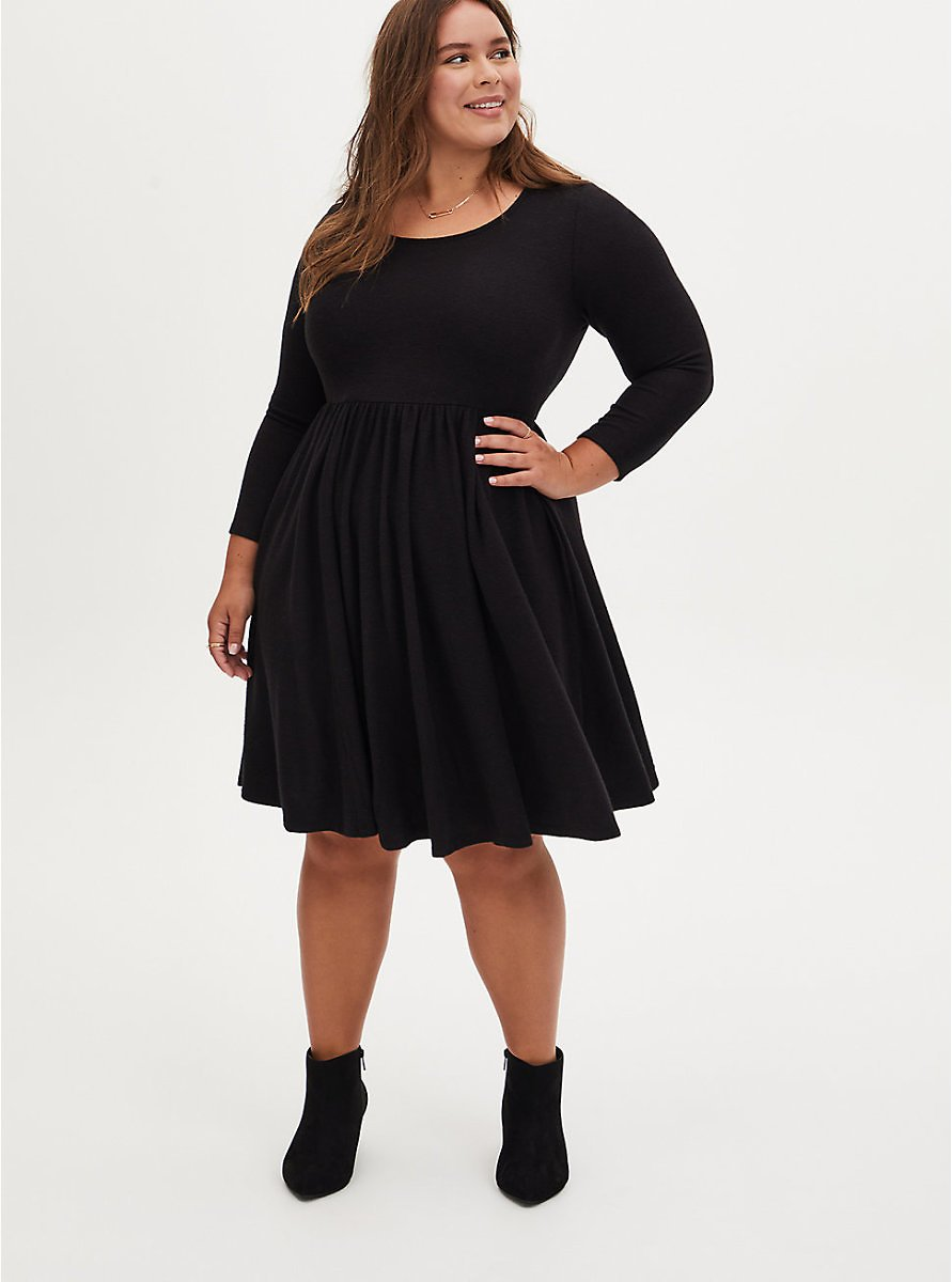 Super Soft Plush Black Scoop Neck Skater Dress