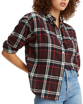 Levi's Cotton Plaid Flannel Shirt & Reviews - Tops - Juniors
