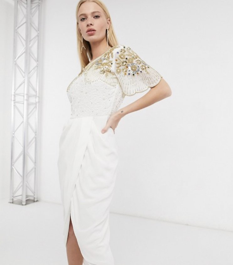 Virgos Lounge Nicola Embellished Midi Dress with Wrap Skirt in Ivory | ASOS