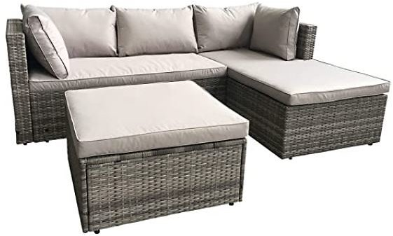 AmazonBasics 3-pc Wicker Rattan Sectional Sofa Lounge Set