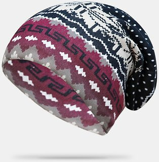 Women Cashmere Dual-purpose Ethnic Style Pattern Contrast Color Keep Warm Outdoor Beanie Turban Scarf Women's Accessories from Apparel Accessories on Banggood.com