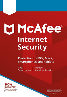 McAfee Internet Security 2020 Anti Virus Software 1 Year 3 Users Emailed Key