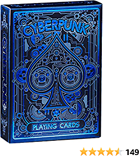Cyberpunk Blue Playing Cards, Deck of Cards with Free Card Game EBook, Premium Card Deck, Cool Poker Cards, Unique Bright Colors for Kids & Adults, Card Decks Games, Standard Size