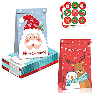 12 Pcs X-Mas Gift Bags Medium Size Storage Bags Christ-mas Wrapping Paper Bags Xmas Decorations, Dessert Boxes Chocolate Gift Box Cotton Candy Bags Kraft Paper Bags Reusable Grocery Bags