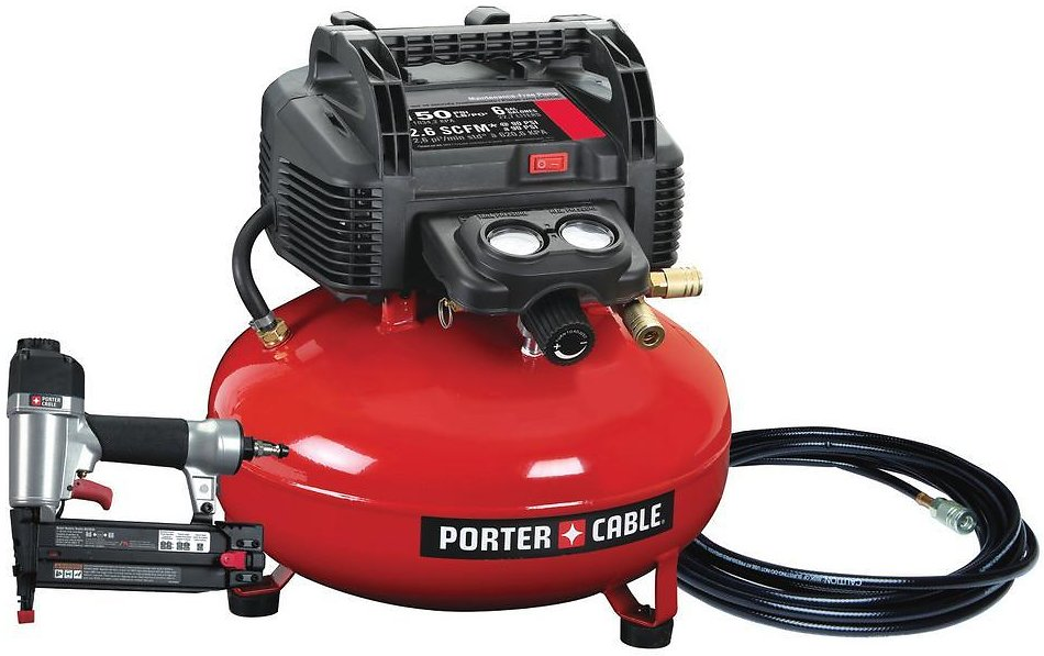 Porter-Cable 6 Gal. 150 PSI Portable Electric Air Compressor and 18-Gauge Brad Nailer Combo Kit (1-Tool)-PCFP12236