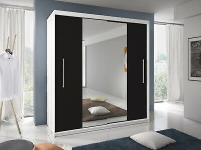 Modern Design Wardrobe TURIN 6 Ft 8 Inch Mirrored Sliding Doors FREE DELIVERY