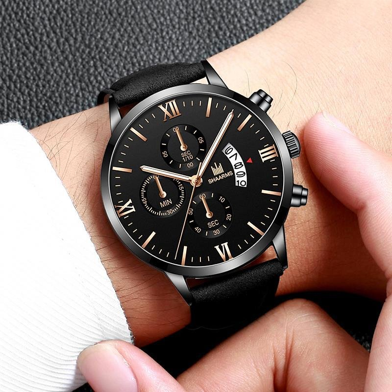 US $3.49 30% OFF|SHAARMS Relogio Masculino Fashion Casual Brown Watches for Men Leather Band Quartz Wristwatch Men Classic Date Watch Male|Quartz Watches| - AliExpress