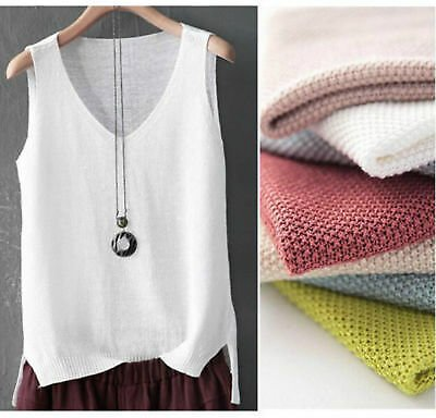 Knitted Cotton Linen Women Bulk Tank Tops Camisole Sleeveless V Neck Shirt
