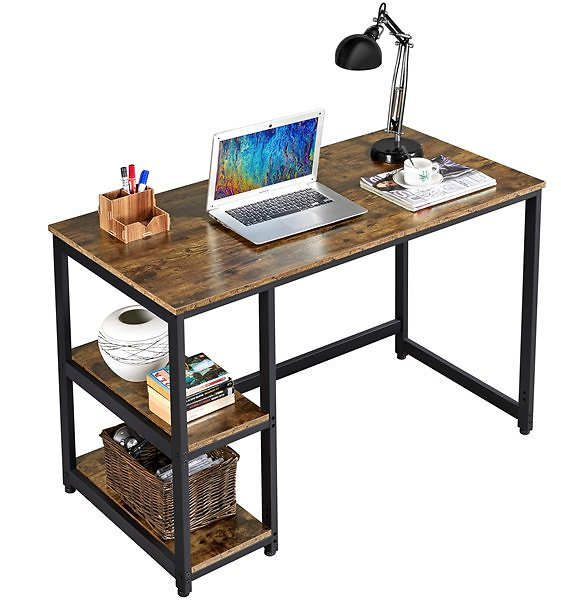 Computer Desk PC Laptop Study Workstation with Storage Shelves Industrial,Rustic Brown