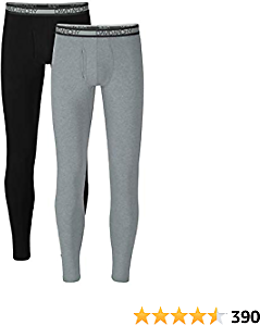DAVID ARCHY Men's Winter Warm Stretchy Cotton Fleece Lined Base Layer Pants Thermal Bottoms Long Johns with Fly 2 Pack