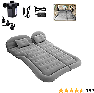 SAYGOGO SUV Air Mattress Camping Bed Cushion Pillow - Inflatable Thickened Car Air Bed with Electric Air Pump Flocking Surface Portable Sleeping Pad for Travel Camping Upgraded Version - Gray