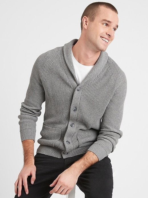 Ribbed Shawl Cardigan