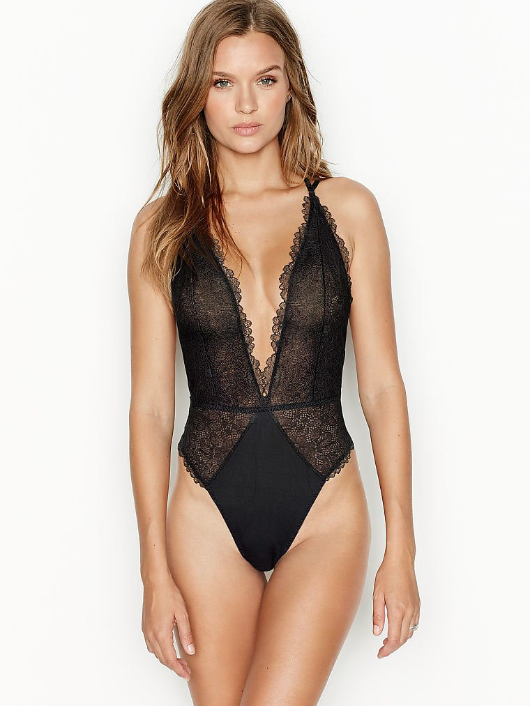 Love By Victoria Unlined Plunge Lace Teddy - Very Sexy - Vs