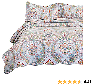 Bedsure 100% Cotton Printed Quilt Set - Vintage Paisley Pattern, Pre-Washed, 3-Piece Full/Queen Quilt with 2 Shams - All-Season Bed Cover Machine Washable Bedspread Coverlet