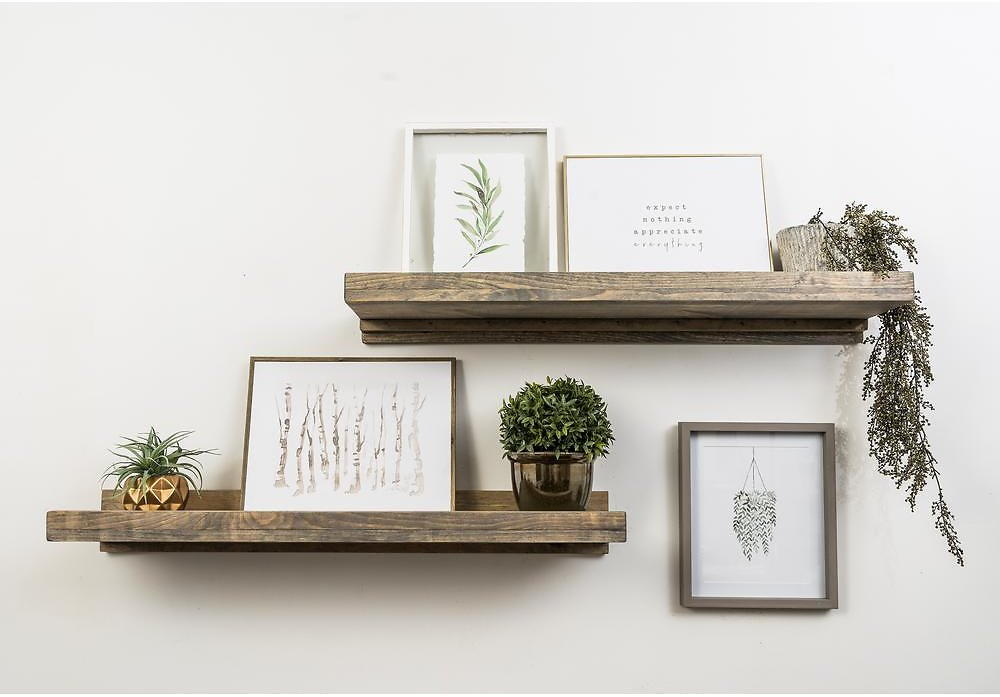 Del Hutson Designs Rustic Luxe 36 In. W X 10 In. D Floating Gray Decorative Shelves (Set of 2)-DHD1087gr