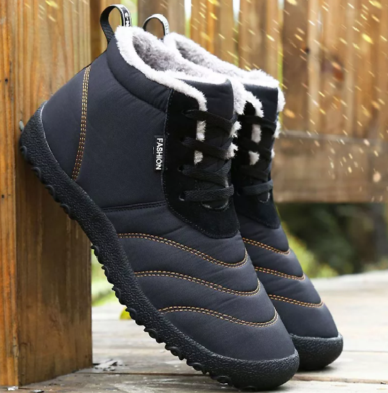 2020 New Lace-up Warm Plush Winter Shoes Men Ankle Boots Waterproof Comfortable Flat With Snow Boots Mens Casual Shoe Botas