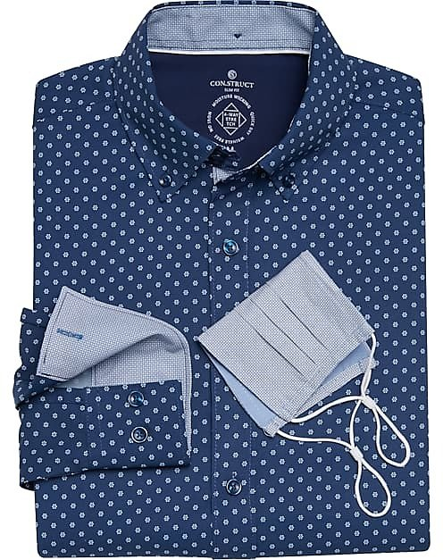 Con.Struct Navy Flower Dot Slim Fit Sport Shirt with Mask - Men's Shirts | Men's Wearhouse