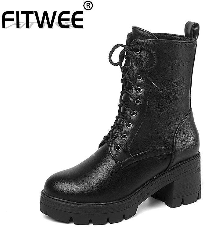 FITWEE Thick Botom Women Ankel Boots Fashion Platform Non-Slip Shoes Women Black Leather Street Dressing Footwear Size 33-43