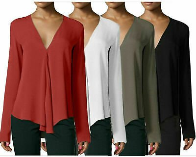Sexy Women Loose Long Sleeve Chiffon V-Neck OL Blouse Tee Summer Tops Plus Size